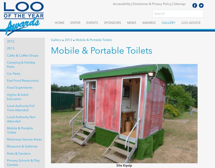 Mobile & Portable Toilets - Loo of the Year Awards - December 2013